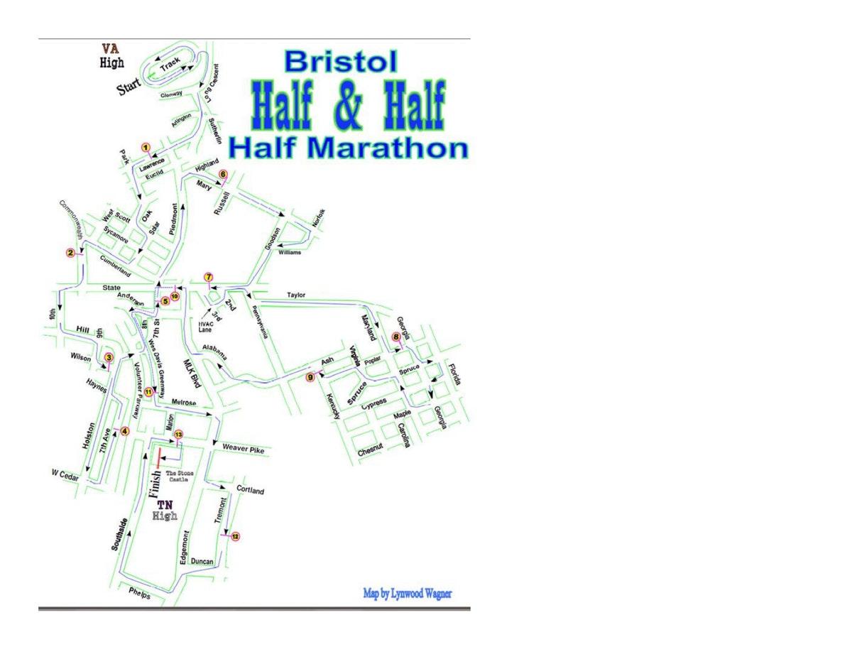 Course map for Half Marathon Course Map