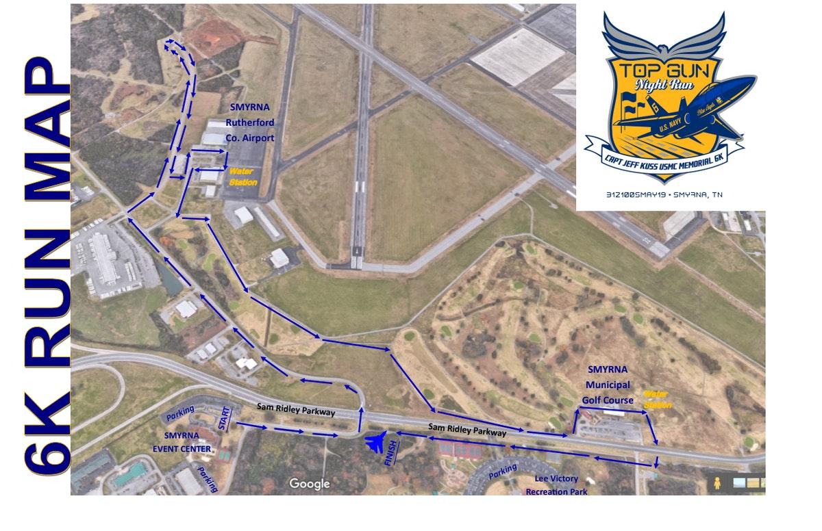 Course map for Top Gun Night Run Course