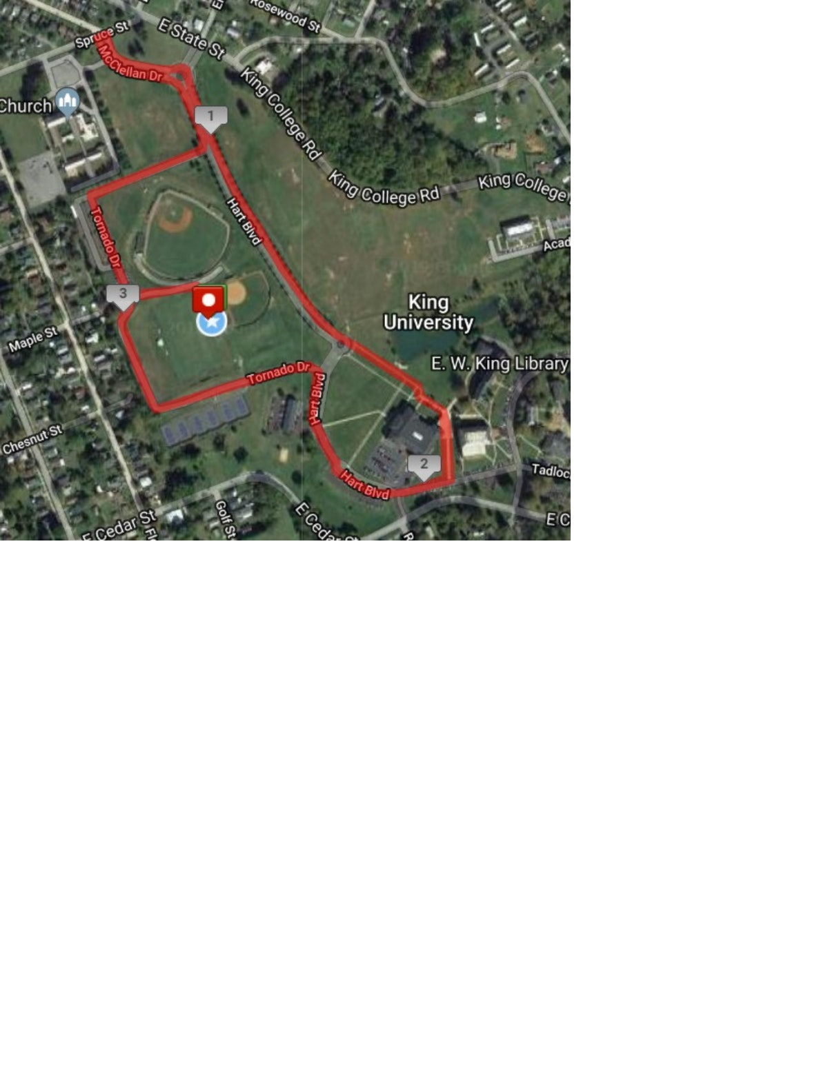 Course map for 5K Course Map (Double Loop)