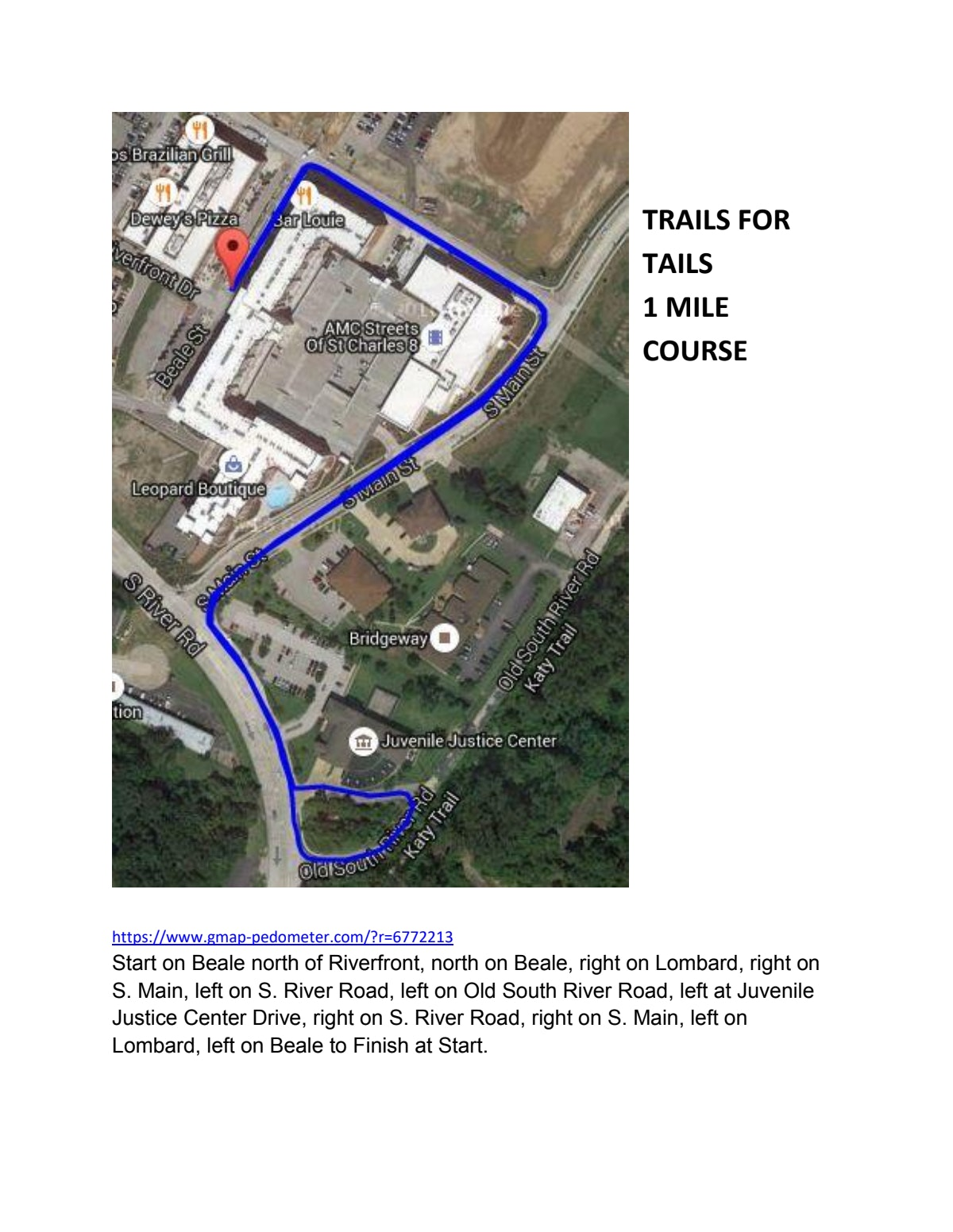 Course map for 1 Mile Course