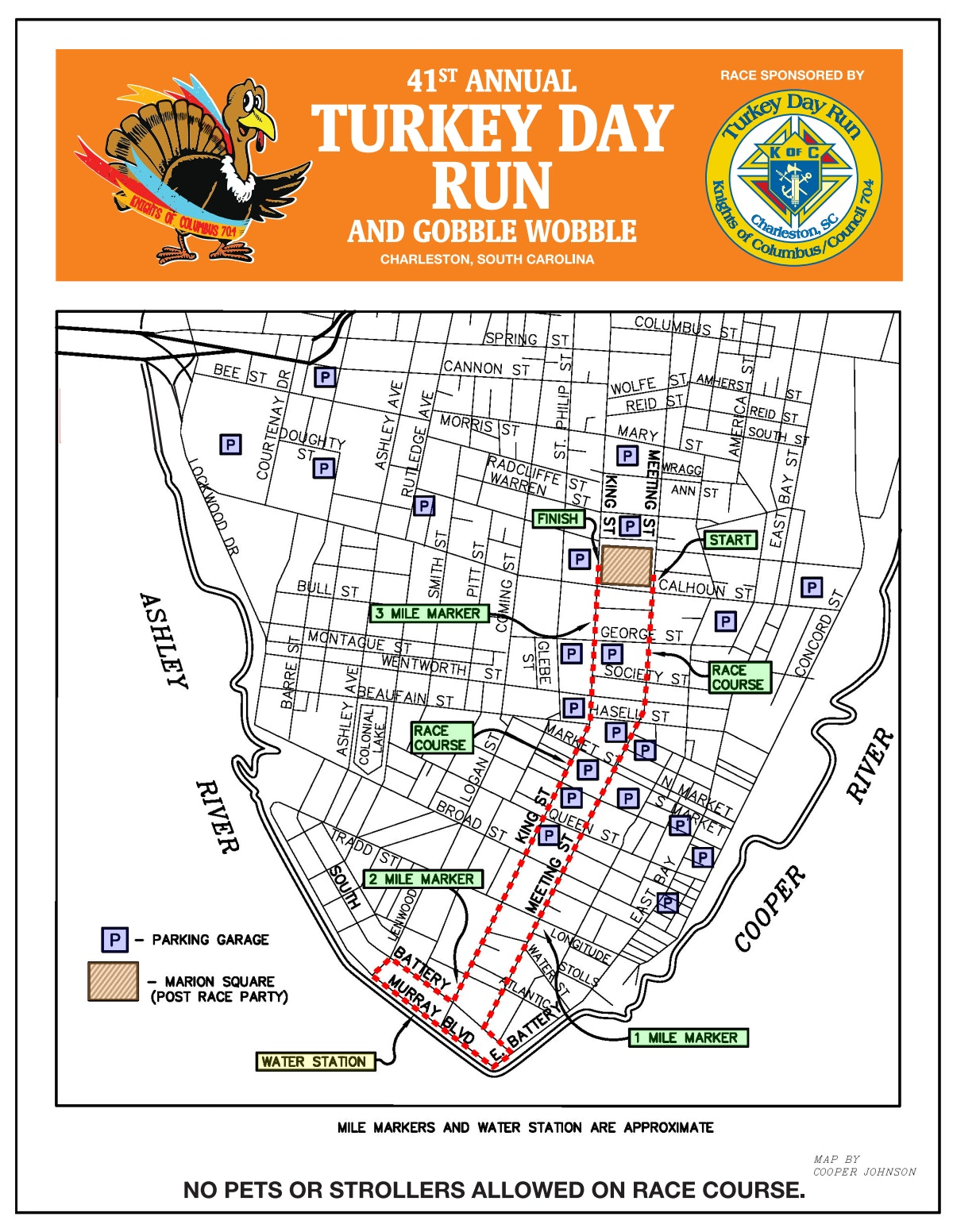 Course map for Turkey Day 5K Course