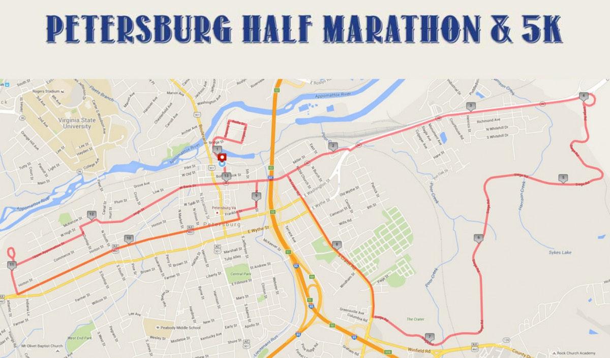 Course map for Half Marathon Course