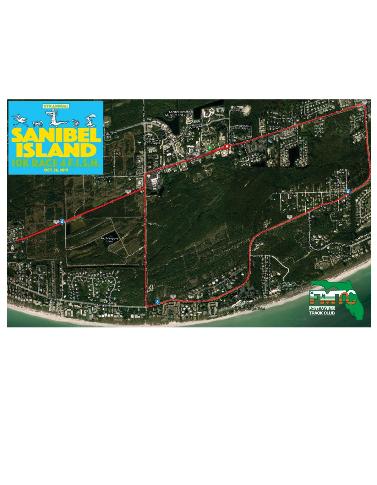 Course map for F.I.S.H. 10K Map
