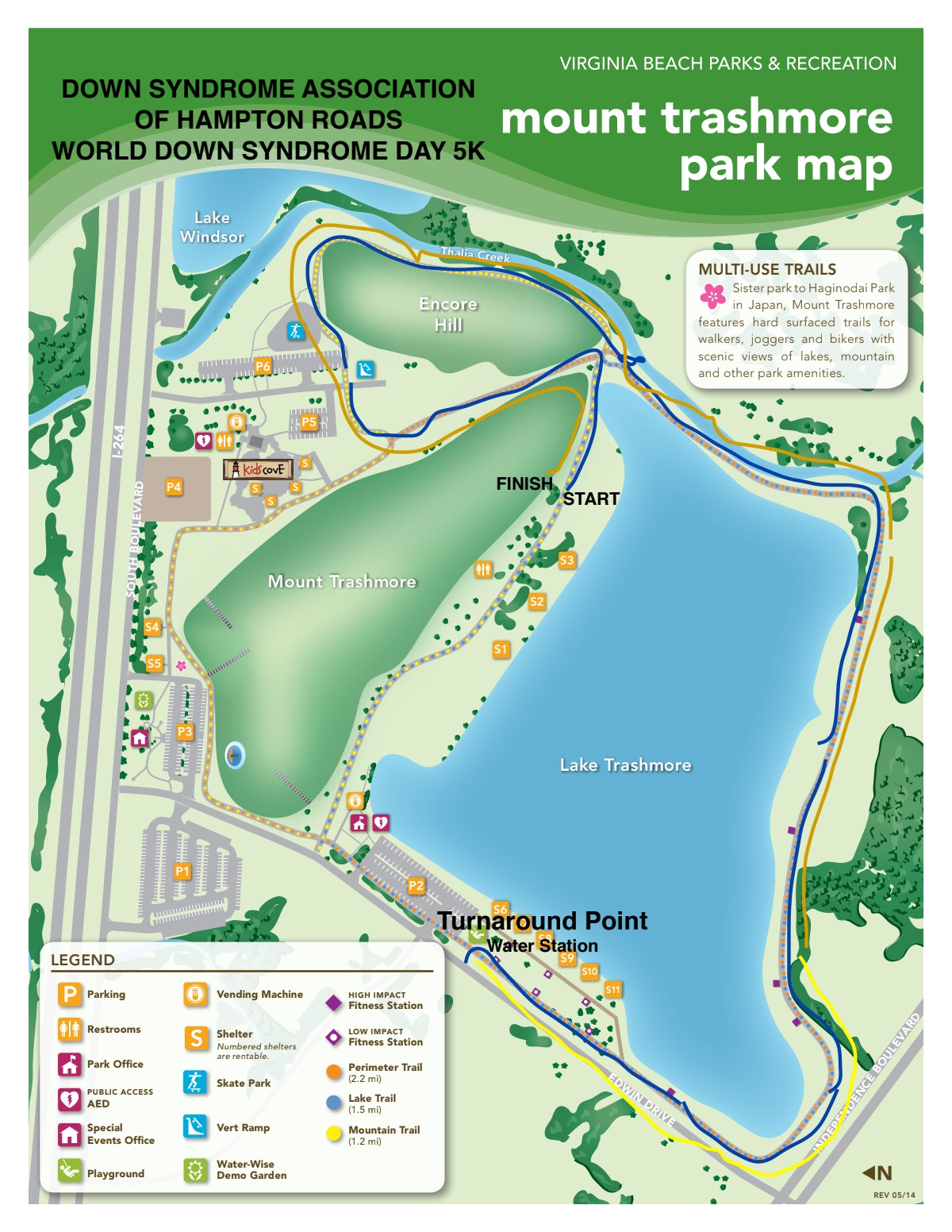 Course map for WDSD 5K - Mount Trashmore Park
