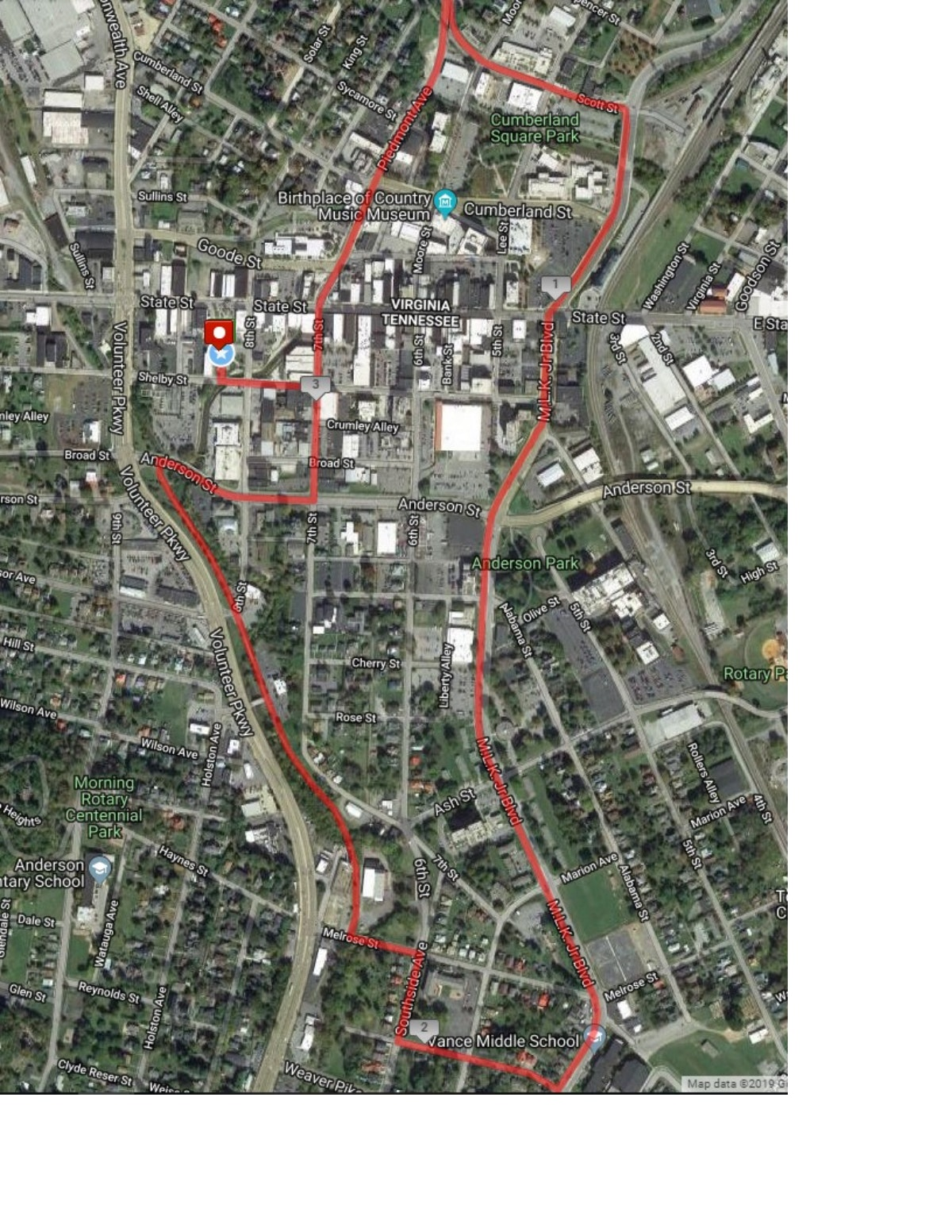 Course map for Leap Day 5K
