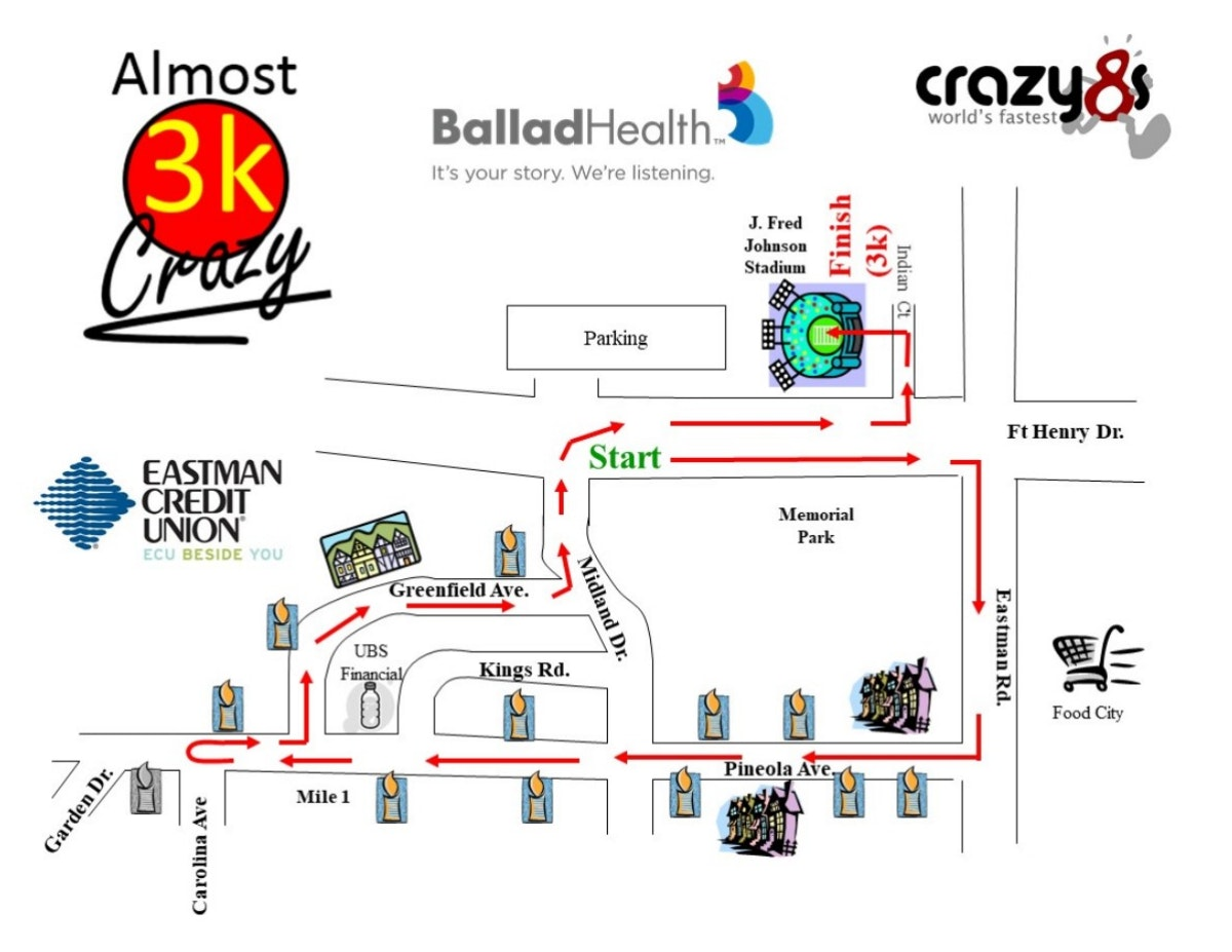 Course map for Almost Crazy 3K Course Map