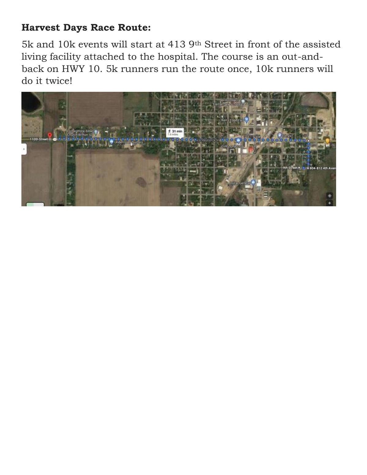 Course map for Harvest Days Race Route